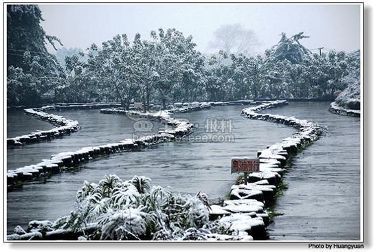 网友实拍家乡雪景