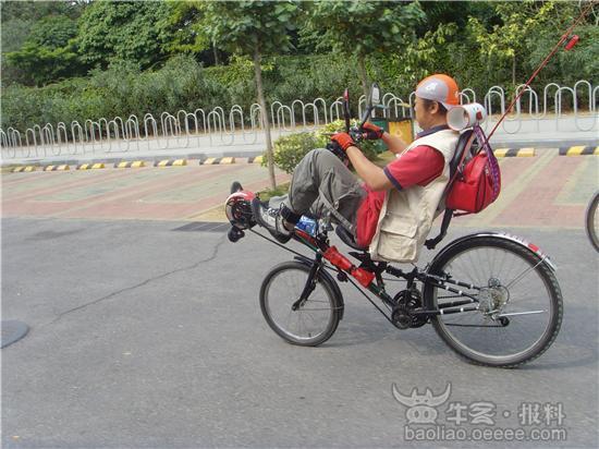 趣图:自行车象轿车躺着骑