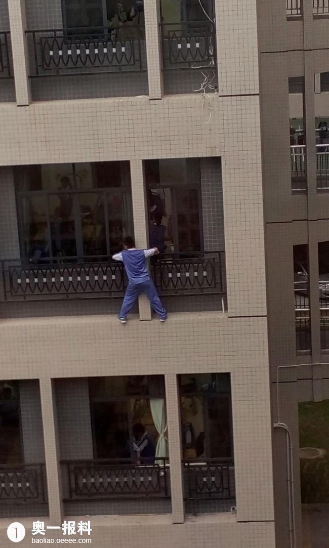 珠海一高中,忽略a高中,高中蜘蛛人,学生窗外擦窗正定县的高楼图片